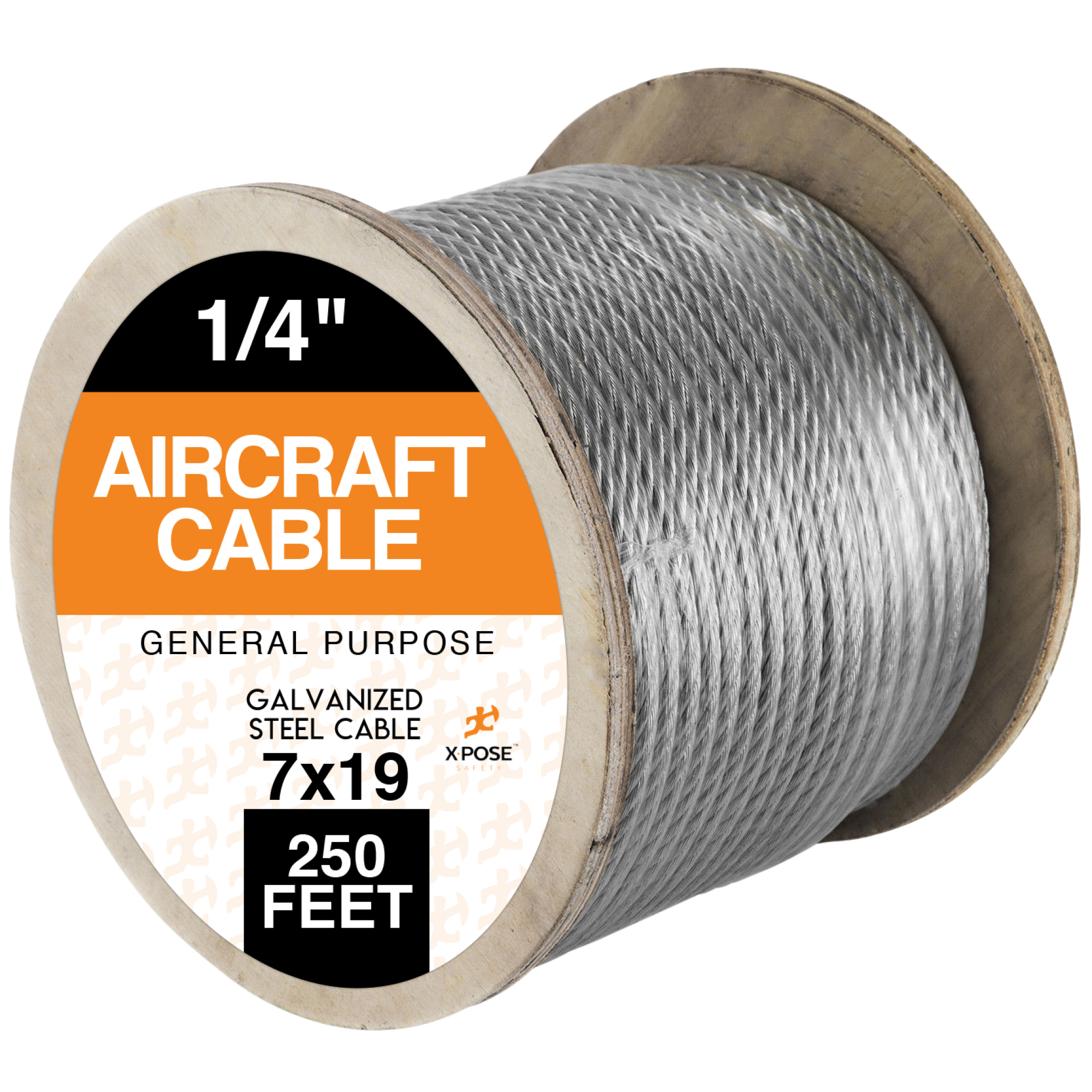 "Galvanized Steel Aircraft Cable Wire 7x19 Strand Core 1/4"" x 250' GWS-250"