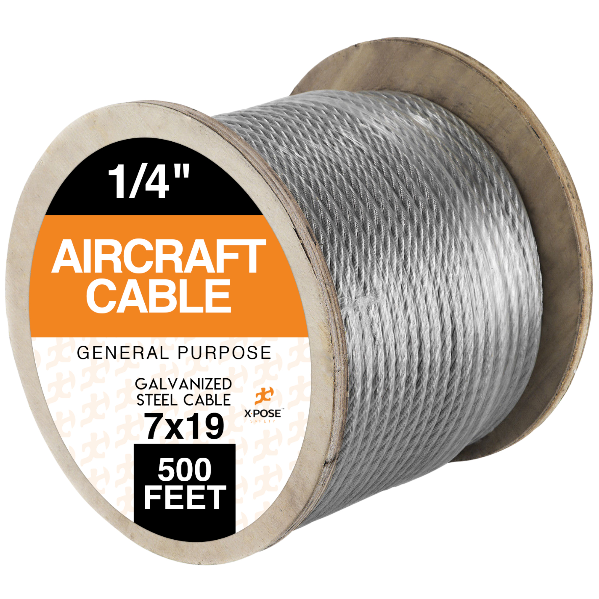 Galvanized Steel Aircraft Cable Wire, 7x19 Strand Core1/4-in x 500 GWS-500