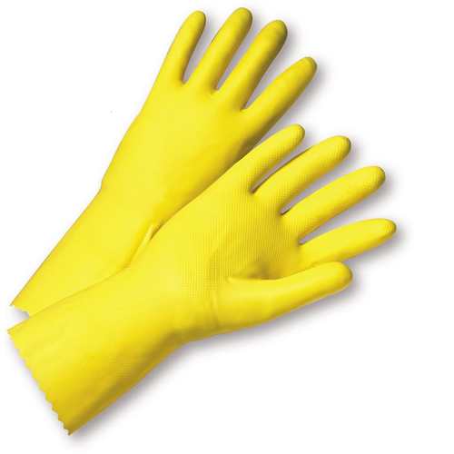 Flock Lined Yellow Latex Gloves, Size Small- 12 Pairs HL100-S