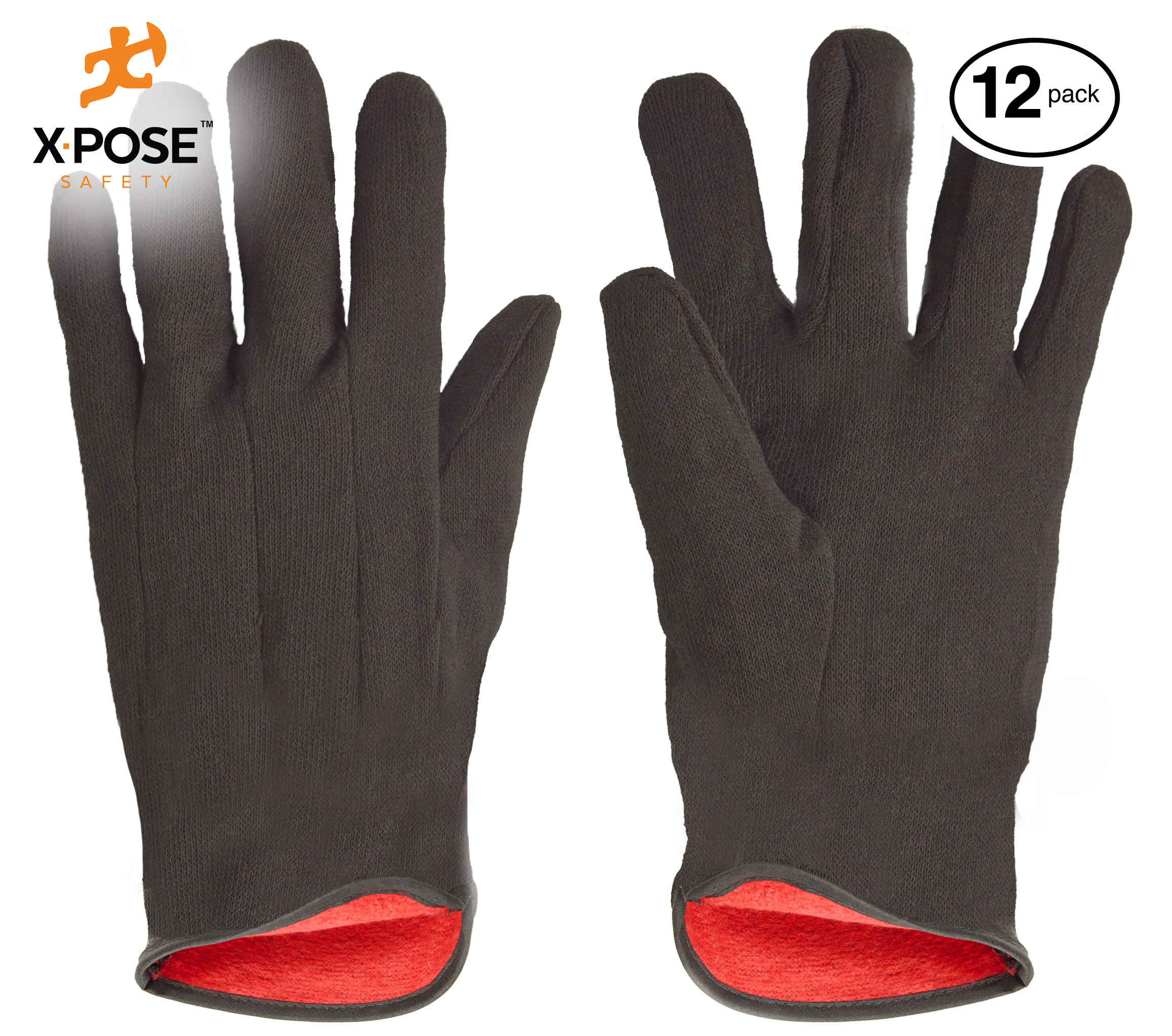Protective Work Gloves - 12 Pack For Industrial Labor, Home and Gardening 100% 14 oz Cotton, Red Fleece Lining - Men's Large - Brown RL-1400
