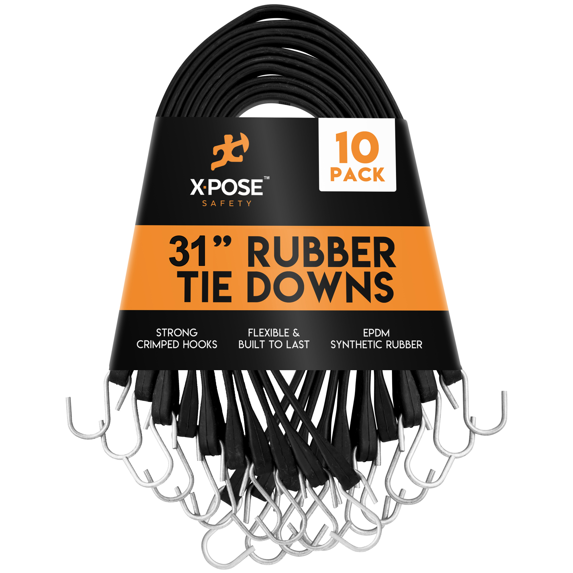 "10 PACK 9/"" Heavy Duty Natural Rubber Tarp Straps Tie Down Bungee Cords S-Hook"