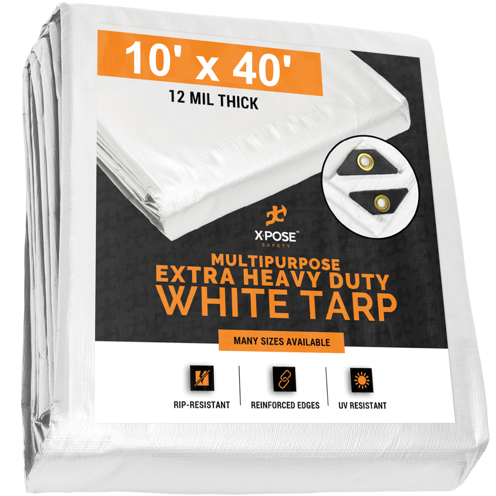 Heavy Duty White Poly Tarp 10' x 40' Multipurpose Protective Cover - Durable, Waterproof, Weather Proof, Rip and Tear Resistant - Extra Thick 12 Mil Polyethylene WHD-1040-X