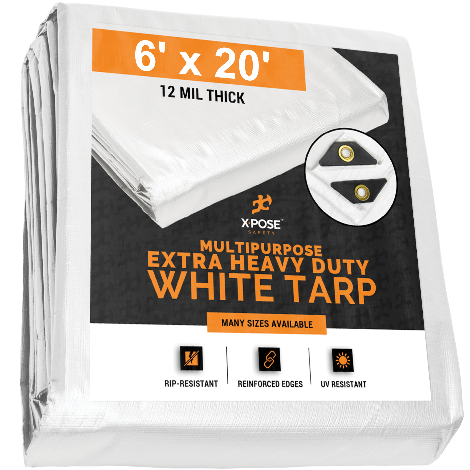 Heavy Duty White Poly Tarp 6' x 20' Multipurpose Protective Cover - Durable, Waterproof, Weather Proof, Rip and Tear Resistant - Extra Thick 12 Mil Polyethylene WHD-620-X