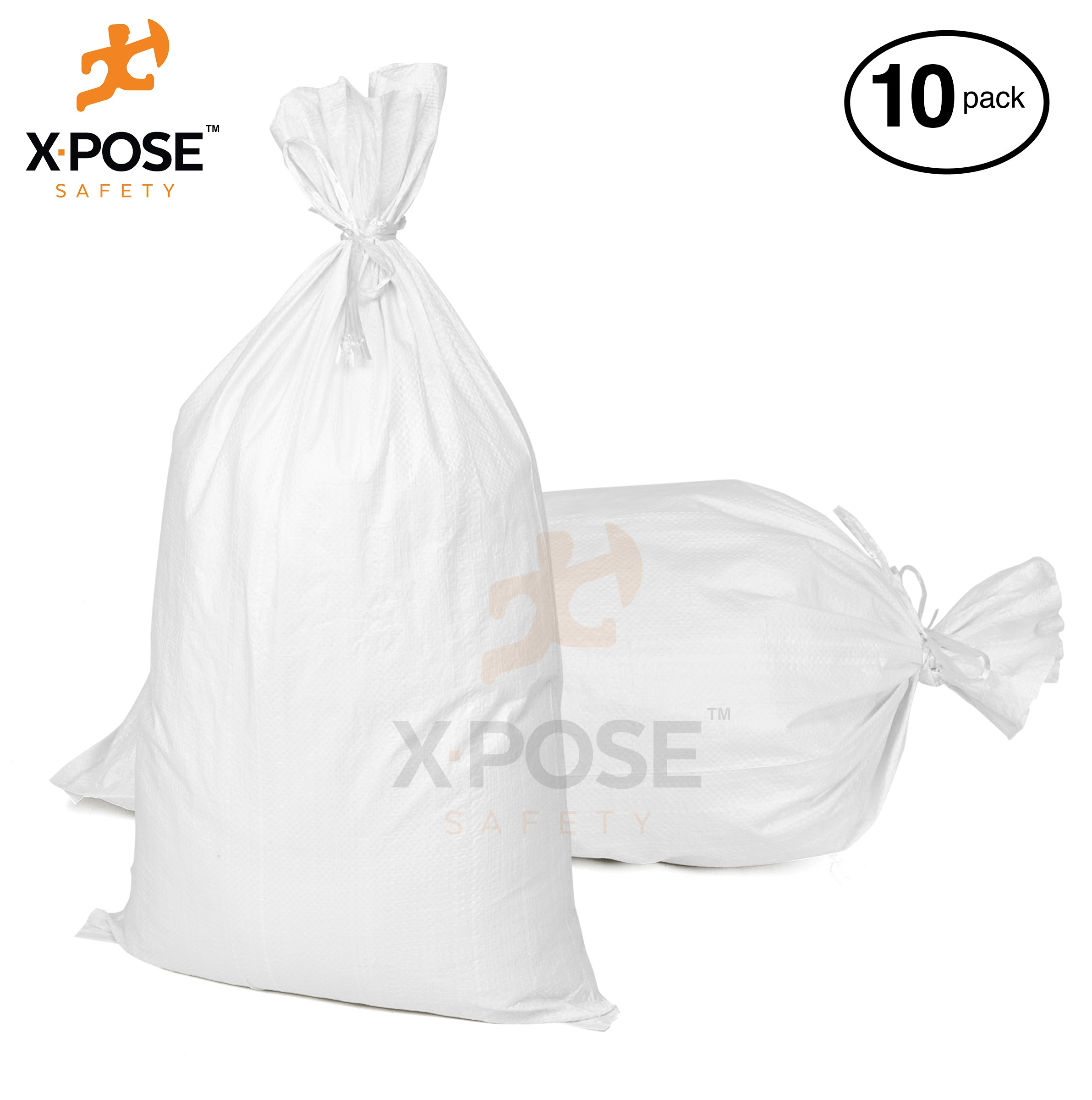 "Xpose Safety 15""x27"" Empty Sandbags, 10 Pack with Ties Heavy Duty Woven Polypropylene, UV Sun Protection, Dust, Water and Oil Resistant - Home and Industrial - Floods, Photography and More  WSB-1527-10"