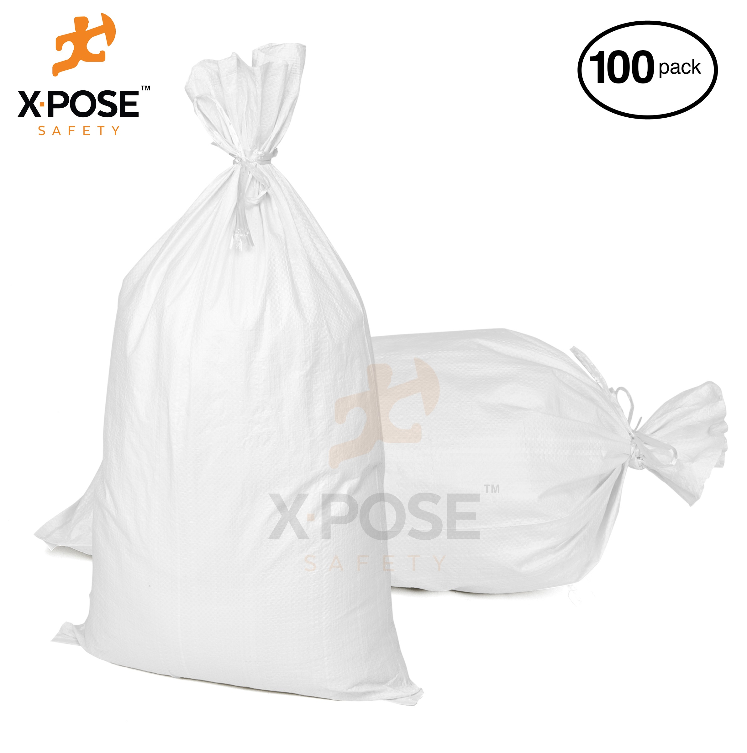 "15""x27"" Empty Sand Bags, 100 PK with Ties – Heavy Duty Woven Polypropylene, UV Sun Protection, Dust, Water and Oil Resistant - Home and Industrial - Floods, Photography and More - by Xpose Safety WSB-1527-100"