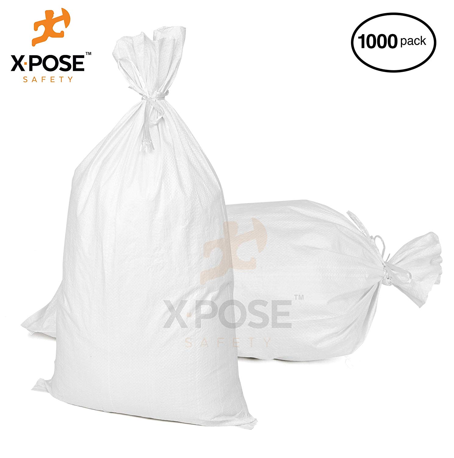 "15"" x27"" Empty Sand Bags, 1,000 PK with Ties  Heavy Duty Woven Polypropylene, UV Sun Protection, Dust, Water and Oil Resistant - Home and Industrial - Floods, Photography and More - by Xpose Safety WSB-1527-1000"