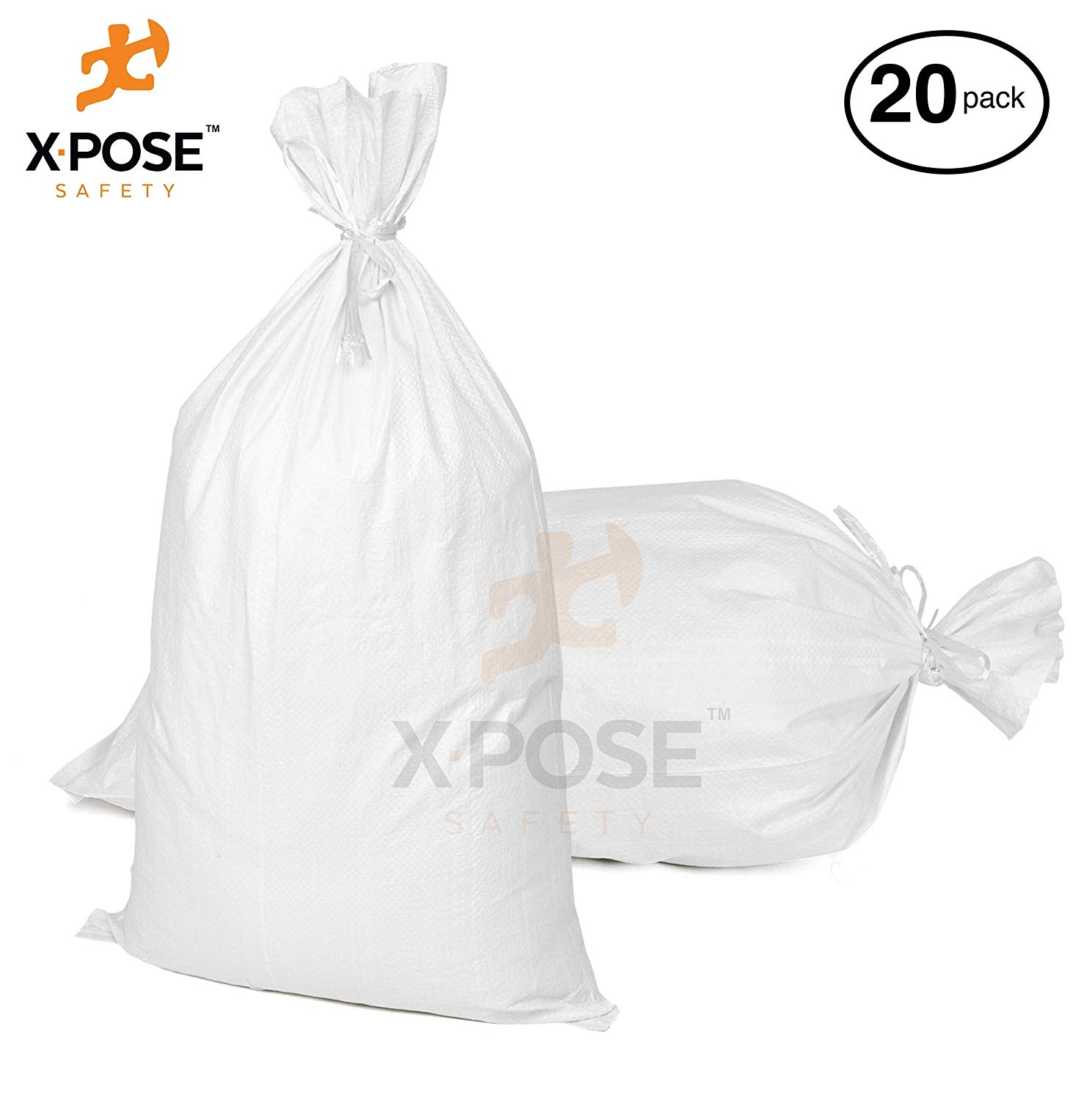 """15"""" x27"""" Empty Sand Bags, 20 Pack with Ties Heavy Duty Woven Polypropylene, UV Sun Protection, Dust, Water and Oil Resistant - Home and Industrial - Floods, Photography and More - by Xpose Safety WSB-1527-20"""