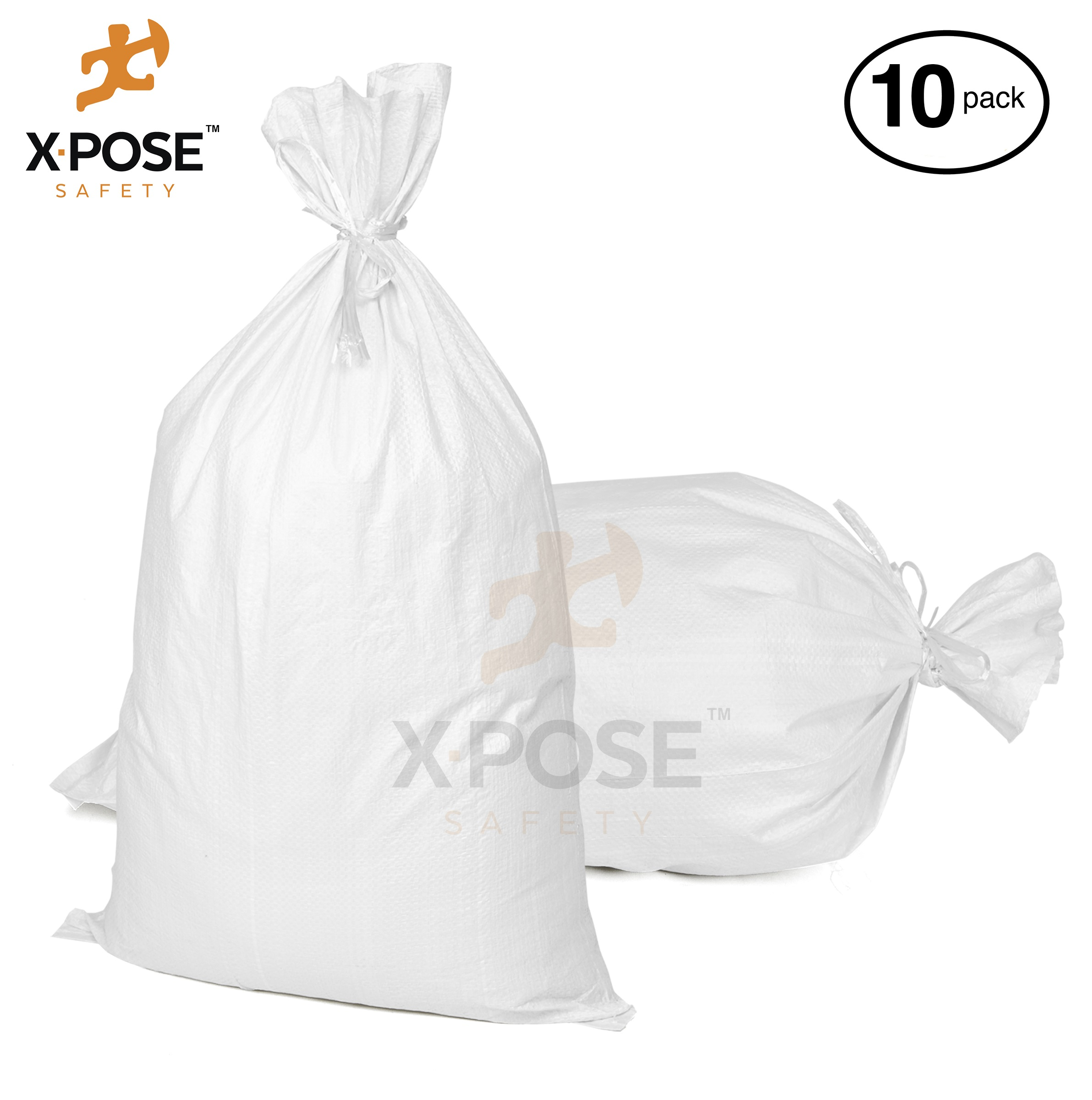 "17"" x27"" Empty Sand Bags, 10 Pack with Ties Heavy Duty Woven Polypropylene, UV Sun Protection, Dust, Water and Oil Resistant - Home and Industrial - Floods, Photography and More - by Xpose Safety WSB-1727-10"