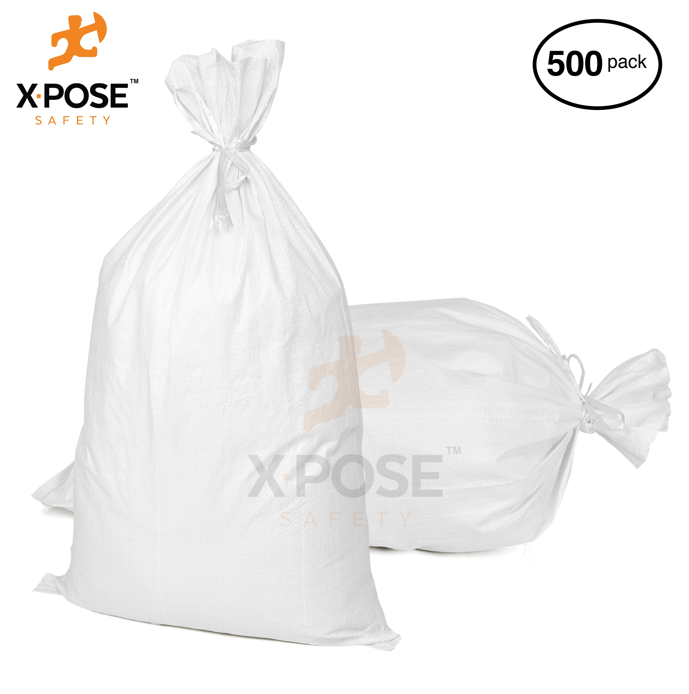 """17"""" x27"""" Empty Sand Bags, 500 Pack with Ties Heavy Duty Woven Polypropylene, UV Sun Protection, Dust, Water and Oil Resistant - Home and Industrial - Floods, Photography and More - by Xpose Safety WSB-1727-500"""