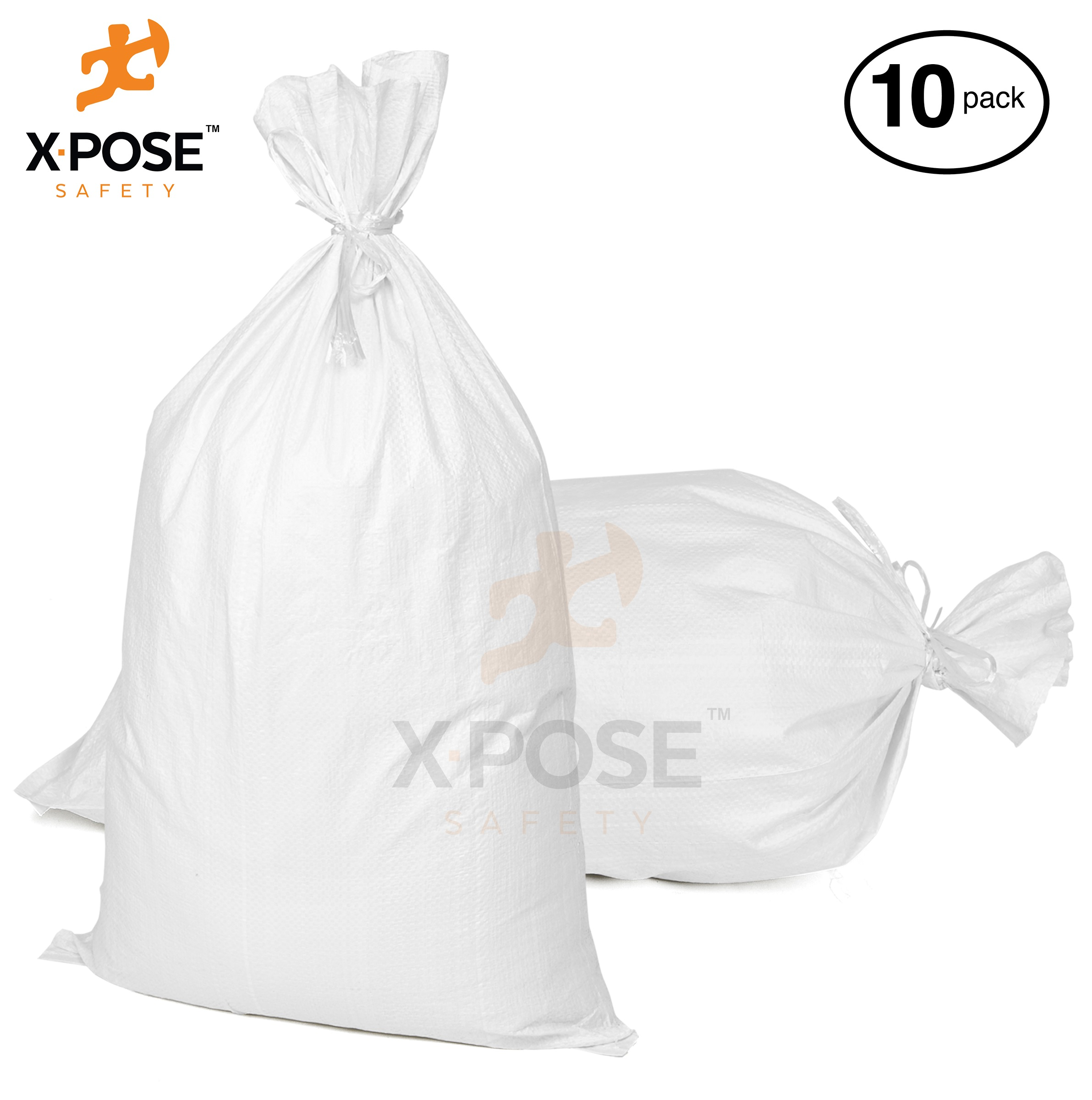 "18"" x30"" Empty Sand Bags, 10 Pack with Ties Heavy Duty Woven Polypropylene, UV Sun Protection, Dust, Water and Oil Resistant - Home and Industrial - Floods, Photography and More - by Xpose Safety WSB-1830-10"