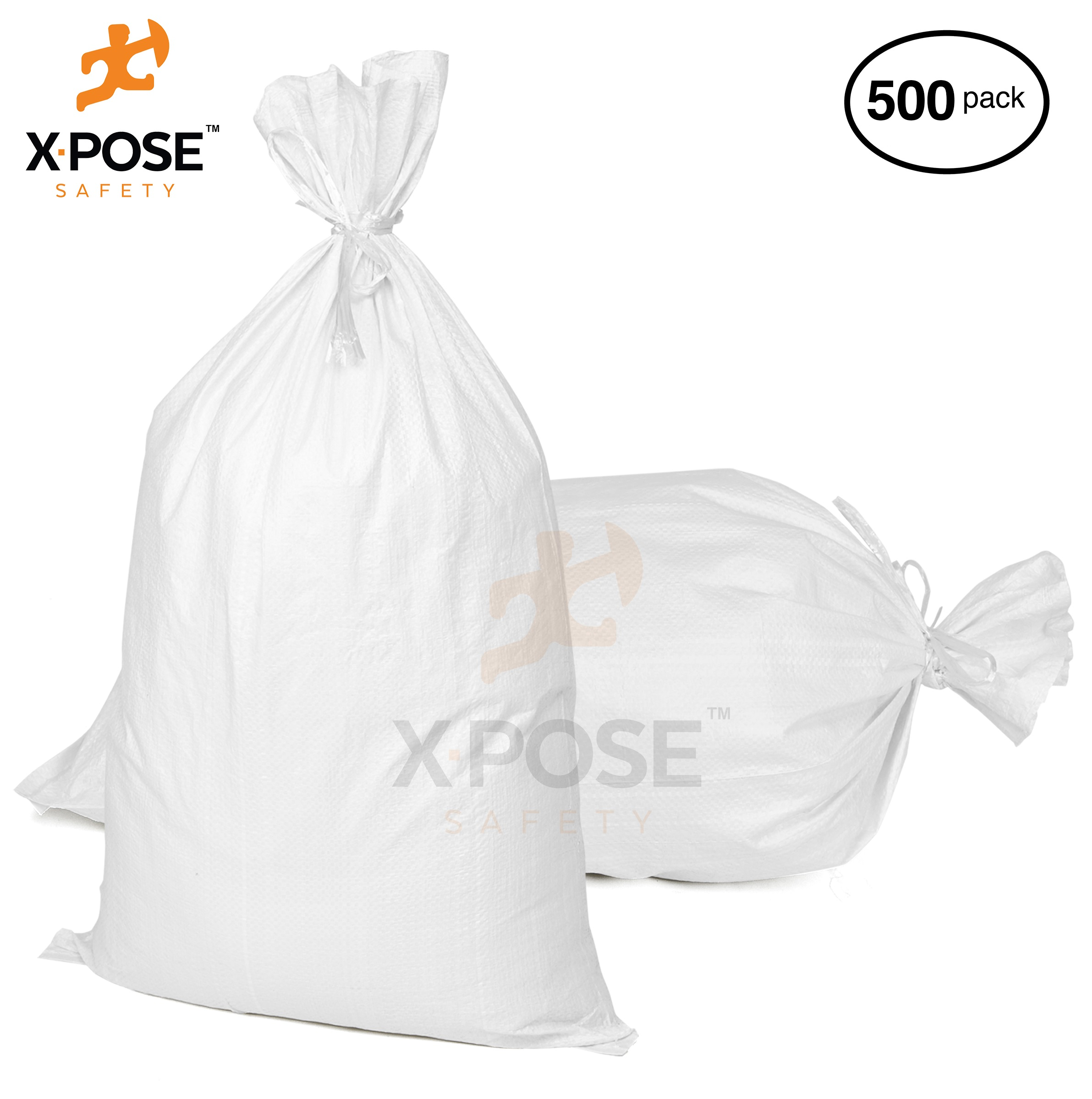 "18"" x 30"" Empty Sand Bags, 500 Pack with Ties  Heavy Duty Woven Polypropylene, UV Sun Protection, Dust, Water and Oil Resistant - Home and Industrial - Floods, Photography and More - by Xpose Safety WSB-1830-500"