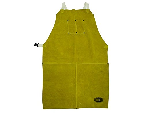 "IRONCAT 7010 Heat Resistant Split Cowhide Leather Welding Bib Apron, 24"" W x 36"" L 7010-36"
