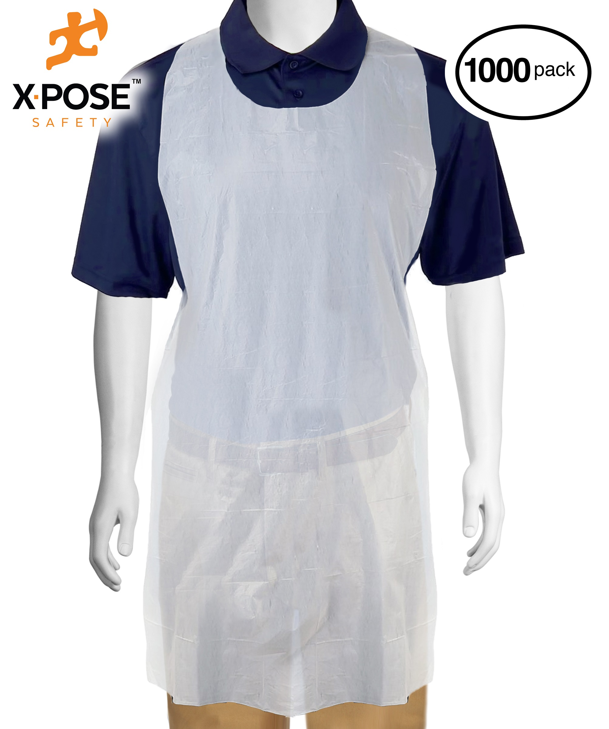 """1000 White Plastic Disposable Aprons Individually Packaged - Durable 1 mil Waterproof Polyethylene - 24"""" x 42"""" AP100-10-X"""