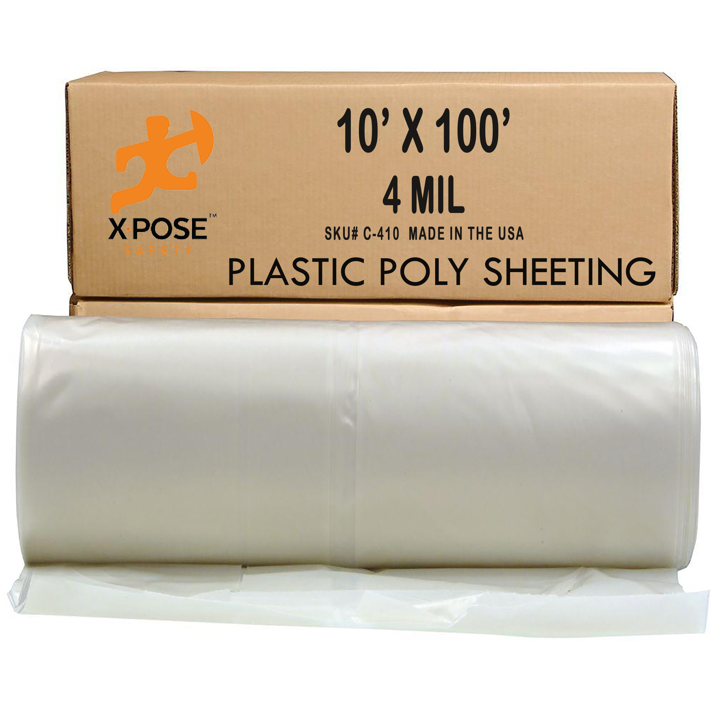 Clear Poly Sheeting - 10 x 100 Feet - Heavy Duty, 4 Mil Thick Plastic Tarp – Waterproof Vapor and Dust Protective Equipment Cover - Agricultural, Construction and Industrial Use - by Xpose Safety C-410