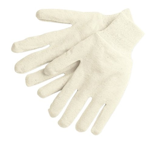 MCR Safety 8000I Jersey Cotton Knit Wrist Men's Gloves with 2-Piece Reversible Pattern, Natural, Large, 1-Pair NJ700