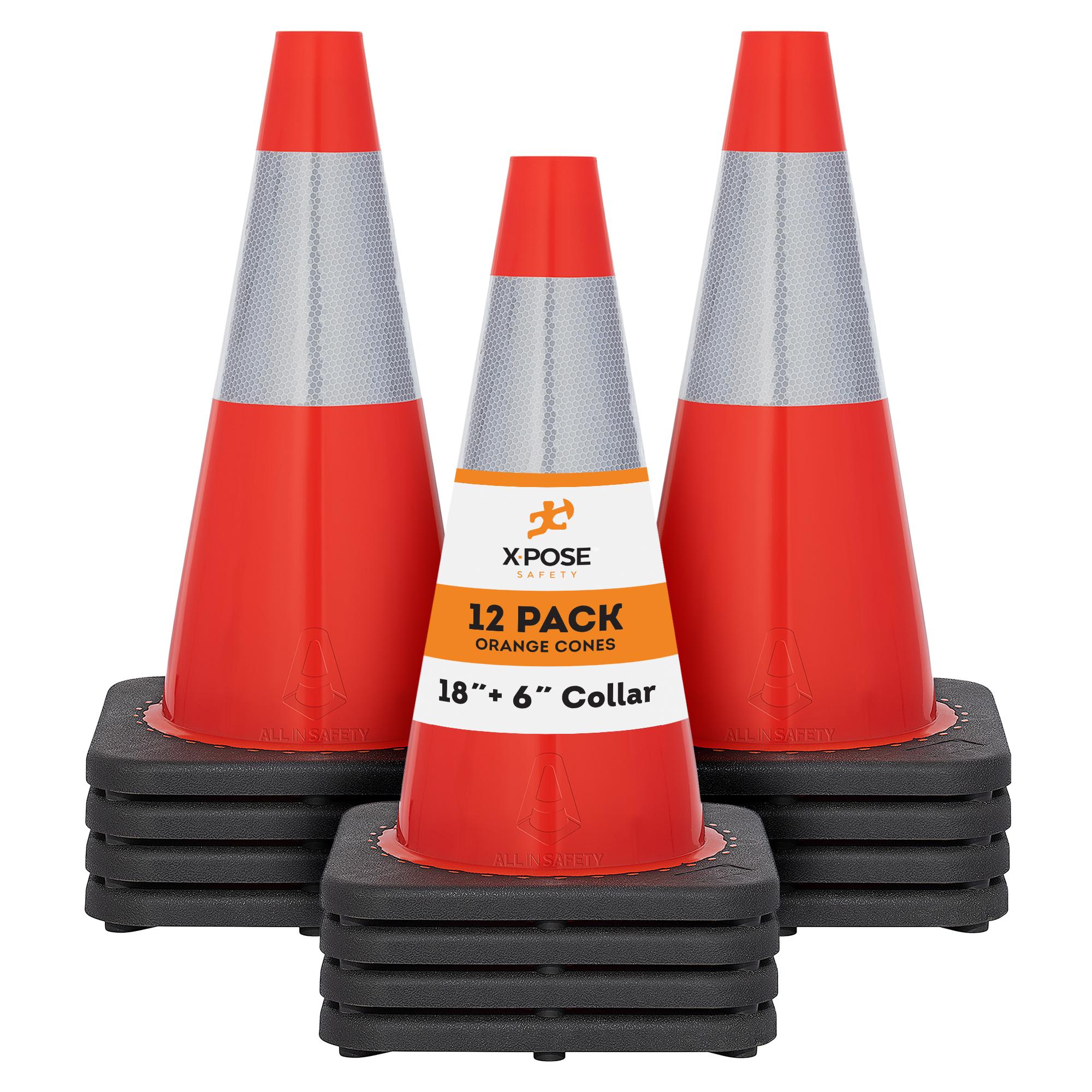 "PVC Plastic Safety Cone Orange Traffic Cones 18 Inch with 6/"" Collar"