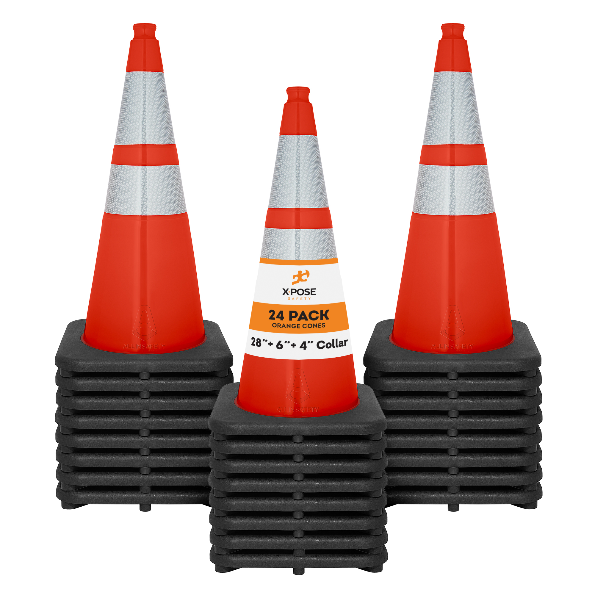 24 Of Orange Traffic Cones 28 Inch With 6 4 Collar Pvc Plastic Safety Cone Ebay
