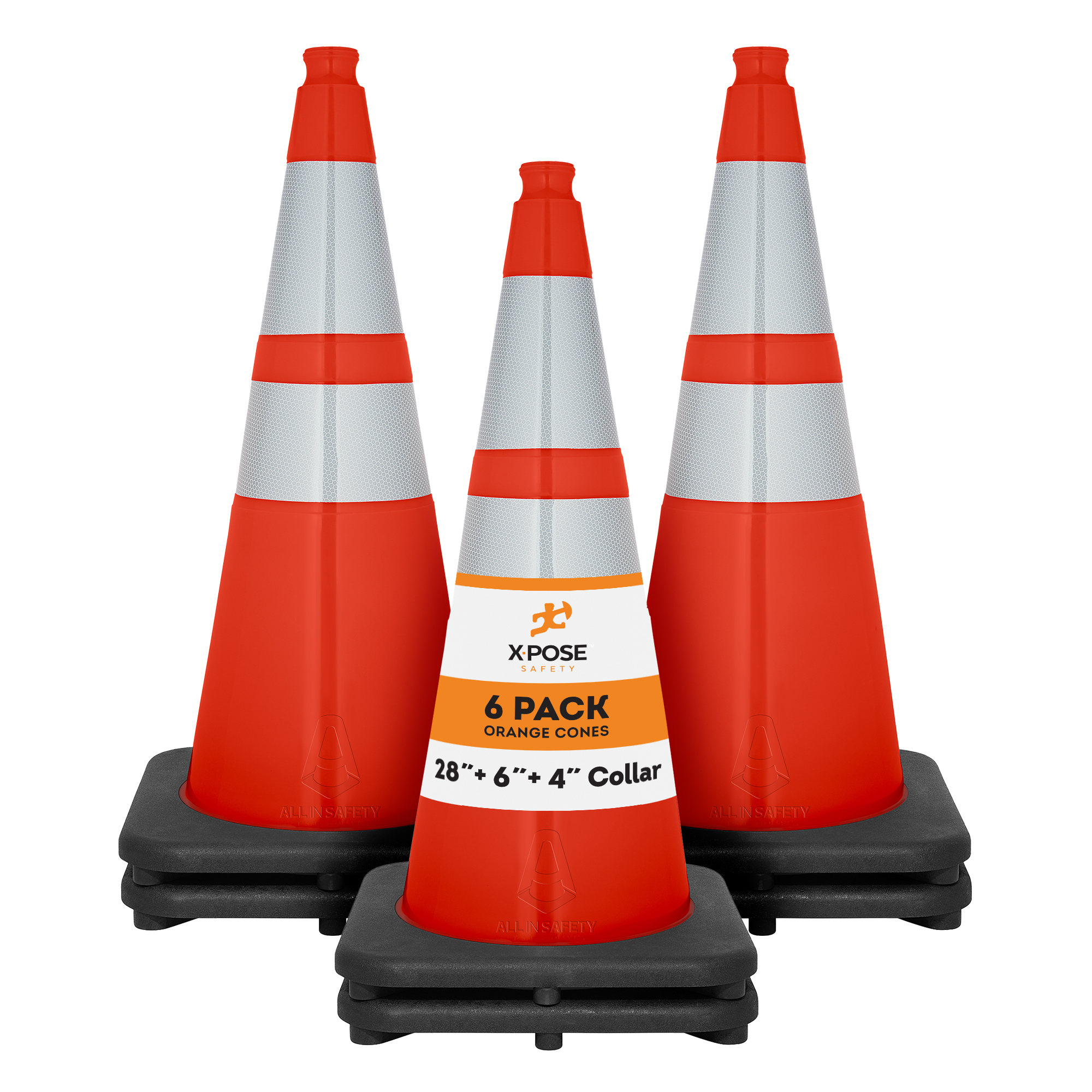 Soccer Kids and Construction Multipurpose PVC Plastic Safety Cone for Parking Caution Xpose Safety 36 Inch Orange Traffic Cones with 6 /& 4 Collars
