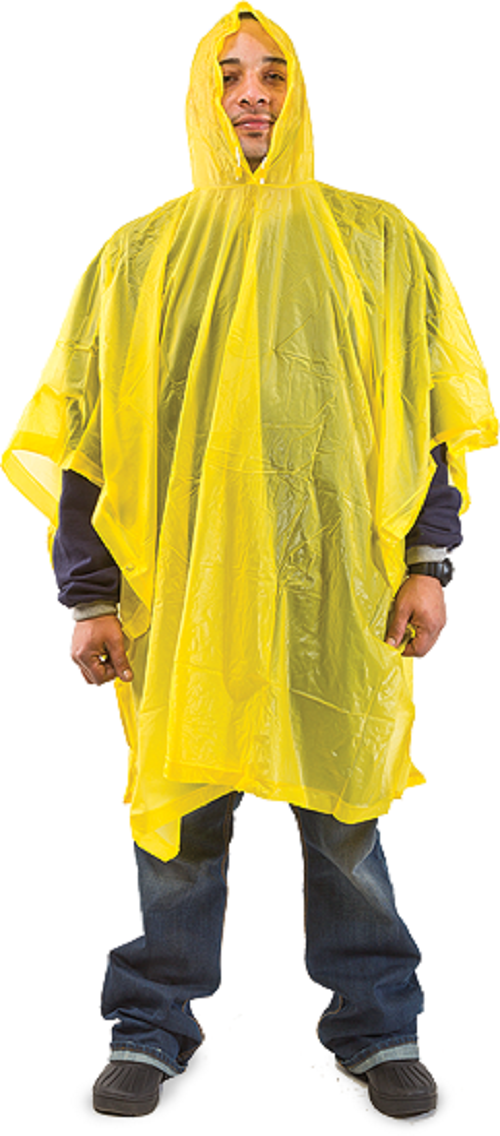 "All Weather Yellow Hooded Rain Poncho 50""x 80"", Emergency Pocket Poncho, 0.10 mm , 1 Count  PW-1000"