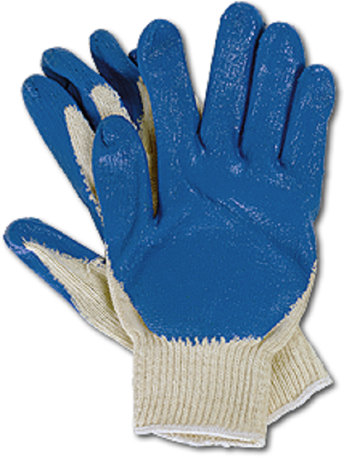 Polyester Knit Gloves Palm & Fingers Blue Coated, 10 Pairs WKBP-400