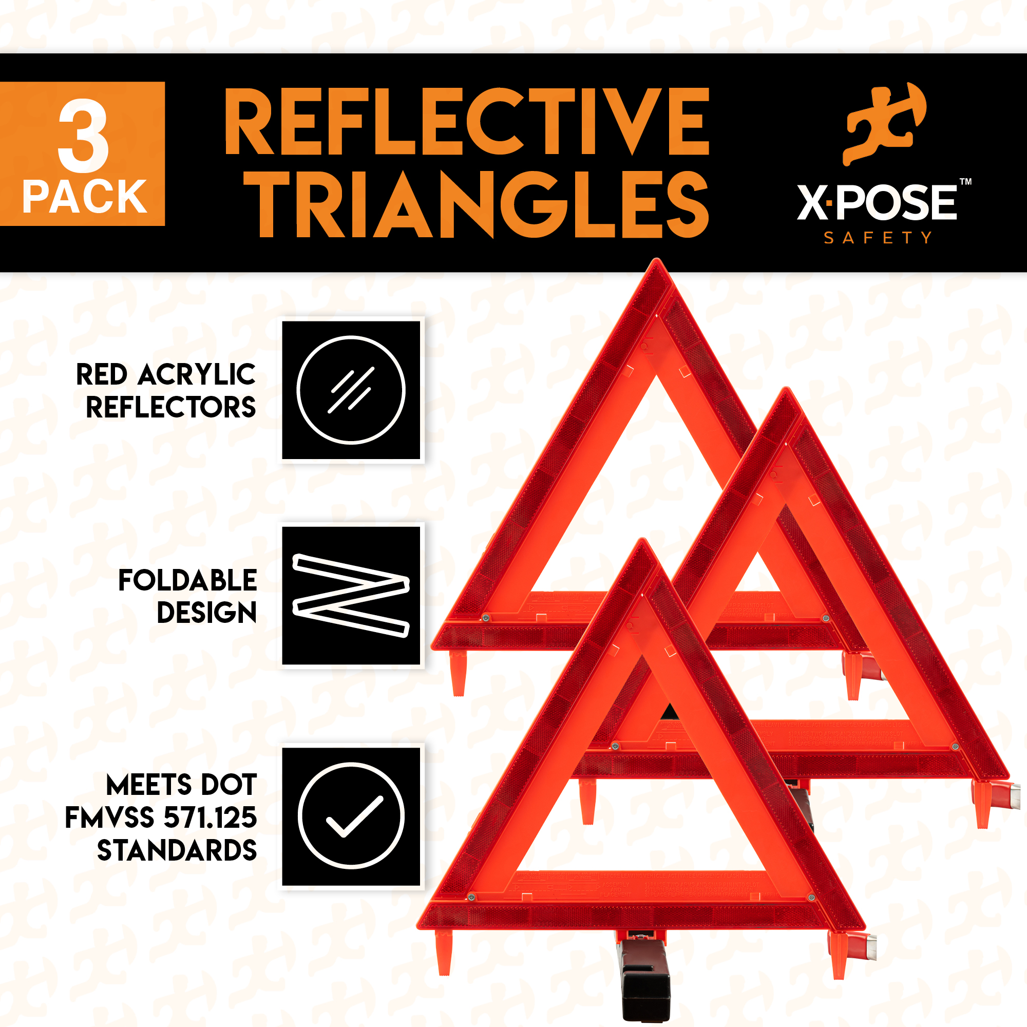 DOT Approved with Weighted Base and Case Foxfire F3TK Roadside Safety Reflective Warning Triangle 3 Pack Collapsible
